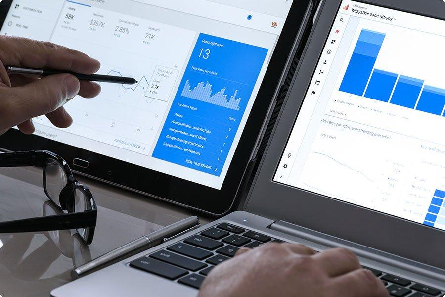 weekly optimization data on laptop screen